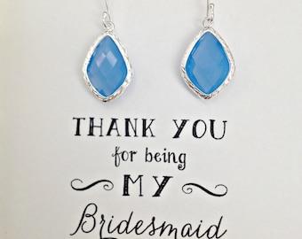 8 Powder Blue Bridesmaid Earrings Set of 8, Blue Earrings for Bridesmaids, Earrings for Wedding, Blue Bridesmaid Jewelry Gift, ES8