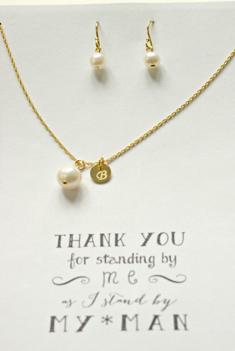 Bridesmaid Freshwater Pearl Necklace and Earring Set and initial TS1 Personalized Pearl Jewelry Set Personalized bridesmaid Pearl jewelry