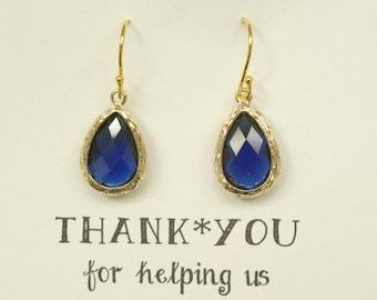 Set of 4 Navy Blue Earrings for Bridesmaids, Something Blue, Blue Bridal Earrings, Dark Blue Wedding Earrings, Blue Gold earrings, ES4