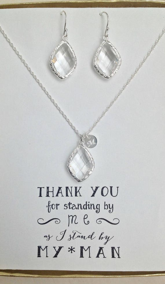 Silver initial Necklace Crystal Earrings Set Set of 3 Clear Crystal Necklace Earrings Set Clear Crystal Jewelry Sets for Bridesmaids TS3