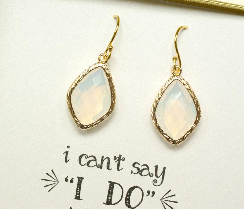 6 Earring Sets Bridesmaid Opal Gold Earrings Gold Opal Earrings Gifts for Bridesmaids Bridal Opal earrings White Wedding ES6