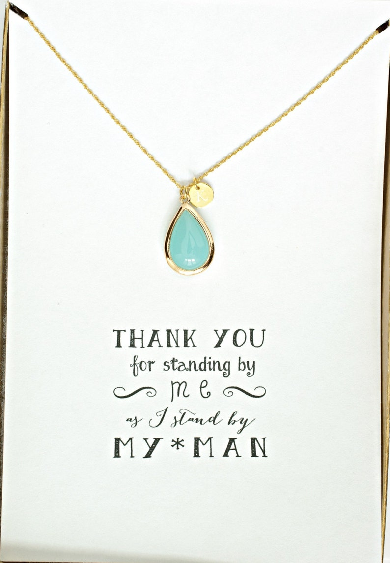 Bridesmaid Proposal Necklace Bridesmaid Personalized Necklace HP8 Set of 8 Mint Bridesmaid Necklace Gold Initial Bridesmaid Jewelry Gift
