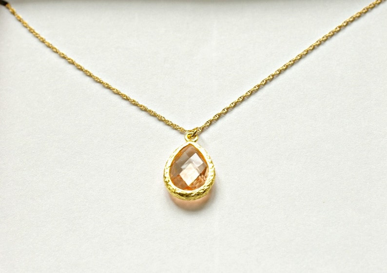 Blush Bridesmaid Necklace Champagne peach necklace Set of 7 Peach Necklaces Gold NK7 Bridal Party Gifts Peach Bridesmaid Jewelry Gift
