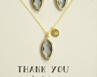 Gray Gold Necklace Earrings Set Bridesmaid, Gold Name initial Necklace Jewelry, Charcoal Gray Jewelry Set for Bridesmaids, TS1