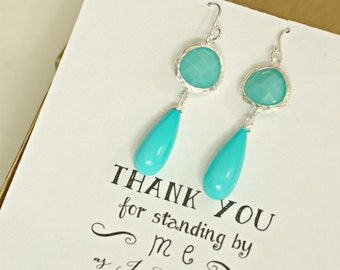 Turquoise Long Dangle Earrings, Turquoise Earrings, Turquoise Wedding Jewelry, Turquoise Bridesmaid Jewelry, Bridesmaid Drop Earrings, ES1