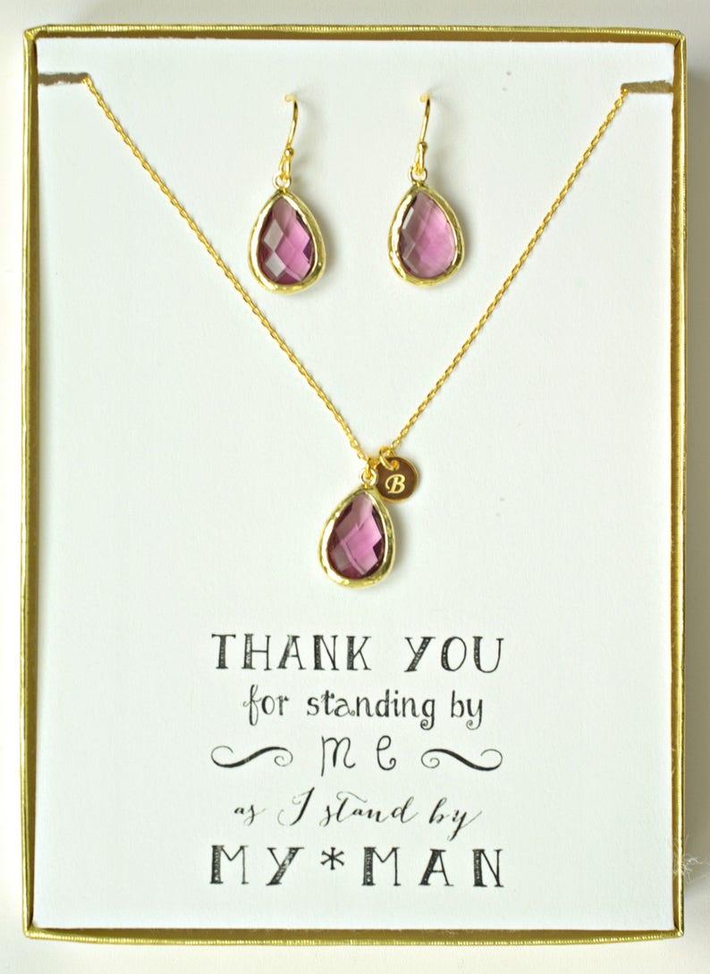 Amethyst Bridal Jewelry Set Personalized Bridesmaid Gift Personalized Bridal Gift Purple Bridesmaid Gifts Personalized Wedding Gift TS1