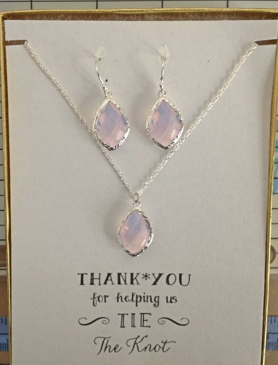TS1 Personalized Jewelry for Bridesmaid Opal Bridal Set Opal Jewelry for Bridesmaids Bridesmaid Initial Necklace and Earring Set