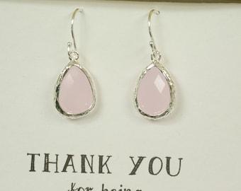 Set of 5 Blush Pink Earrings for Bridesmaids, Blush Bridesmaid Earrings, Blush Bridal Earrings, Blush Drop Earrings, Blush Wedding, ES5