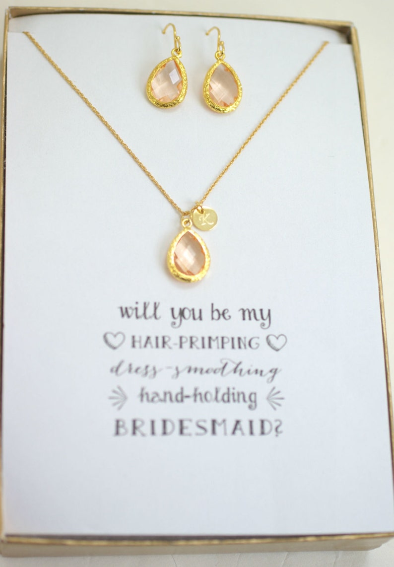Bridesmaid Gold initial Necklace Earrings Set Wedding Gifts Set of 8 Peach Champagne Necklace Earrings Set Bridesmaid Peach Jewelry TS8