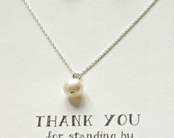 Set of 6 Bridesmaid Pearl Necklace and Earring Silver Set, Genuine Freshwater Pearl Jewelry Set, Silver Pearl Drop Necklace Set, MP6
