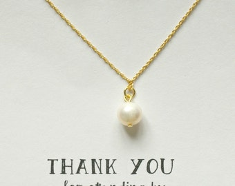 Set of 7 Bridesmaid Pearl Necklace and Earring Set Gold, Freshwater Pearl Necklace, Genuine Pearl Jewelry Set, Gold Pearl Drop Necklace, MP7