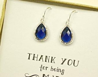 7 Earring Sets Navy Blue Earrings for Bridesmaids, Blue Bridesmaid Earrings, Dark Blue Wedding Earrings, Blue Silver earrings, ES7