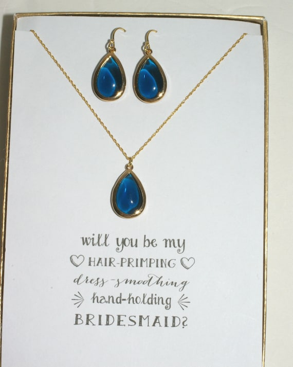 MP1 Blue Bridal Jewelry Navy Blue Jewelry Sets for Bridesmaids Navy Blue Necklace and Earrings Set Navy Blue Wedding Jewelry
