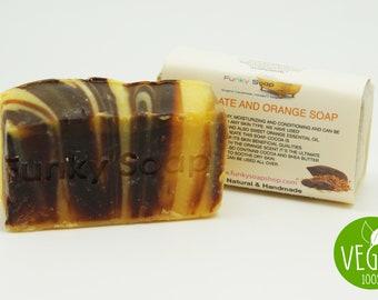 Vegan Chocolate & Orange Soap Bar 100% Natural Handmade 1 bar of 65g