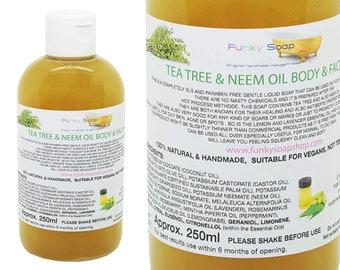 Tea Tree & Neem Oil Liquid Body and Face Wash 100% Natural SLS Free 250ml