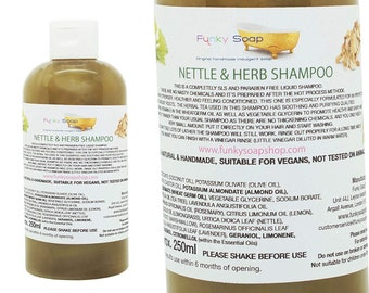 1bottle Liquid Nettle and Herb Shampoo 100% Natural SLS Free 250ml