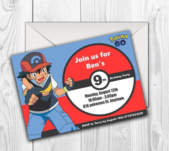 Downloadable Printable Pokemon Birthday Invitations