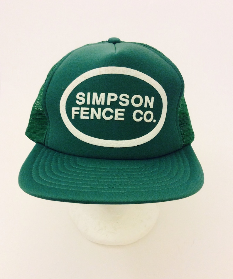 e475593d5 Vintage Green Advertisement Trucker Hat Simpson Fence Company Speedway Cap  Hat Baseball Caps Mesh Snapback Ball Caps One Size Fits All Hats