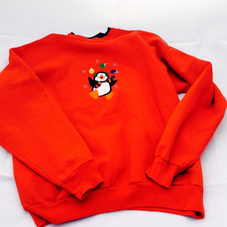 a399d4585d0e Ladies Red Christmas Penguin Sweatshirt Size Large Long Sleeve   Etsy