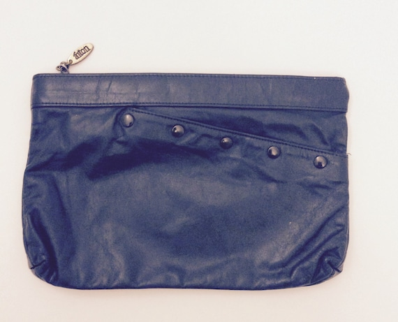 e5a5d32fad1e Vintage Anton Leather Navy Blue Purse Clutch Midnight Blue