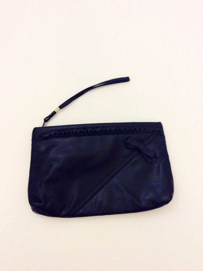 ea1a6156b730e Vintage 80s 90s Purse Navy Blue Clutch Faux Leather Blue Wristlet Retro  Hand Held Purse Bow Ruffle Designed Handbag Midnight Blue Small Bag