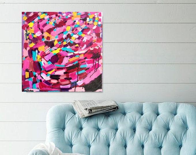 Wall art pink, abstract pink wall art, bohemian art, pink painting, original painting abstract, contemporary wall art, teal modern art