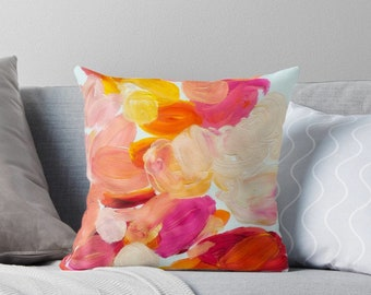 Decorative Pillows For Couch, Throw Pillow Covers 18x18, Pillows Handmade, Colorful Pillows, Pink Pillows, MidCentury Modern, Floral pillows