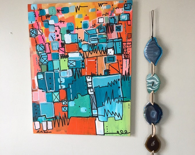 pink orange painting on canvas green abstract painting Original abstract painting modern art contemporary art green and orange midcentury
