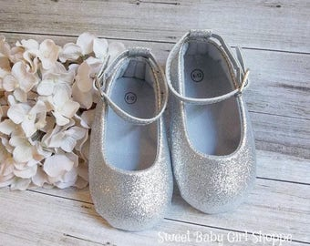 7d32376b4e74 Silver Baby Shoes, Silver Glitter Shoes, Silver 1st Birthday, Silver 1st  Birthday Outfit, Silver Sparkle Shoes, Silver Flower Girl Shoes