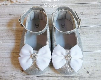 23fc5487e Silver Baby Shoes, Silver Glitter Shoes, Silver 1st Birthday Outfit, Silver Sparkle  Shoes, Silver Flower Girl Shoes, Baby Wedding Shoes