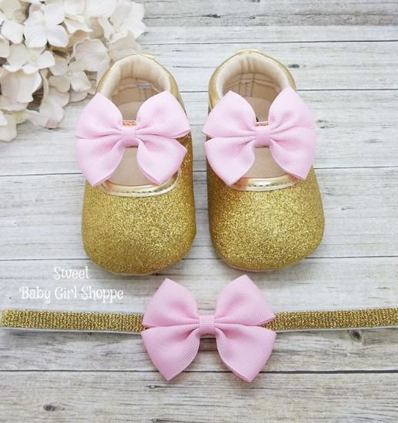 f0665ce6ba84c First Birthday Outfit Girl Pink and Gold, One Year Old Girl Birthday  Outfit, Pink and Gold Baby Shoes, 1st Birthday Shoes
