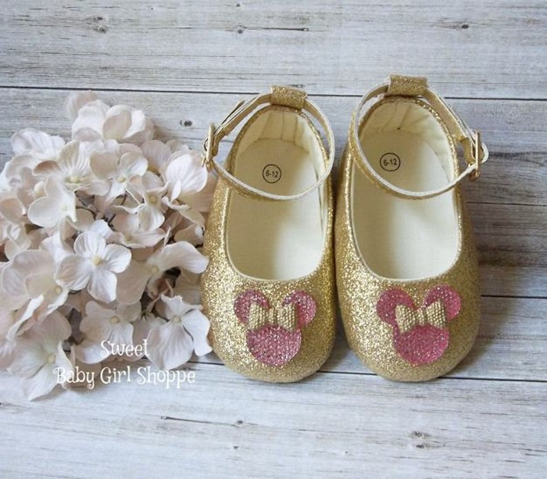 608a6c3782b4b Minnie Mouse Pink and Gold First Birthday, Minnie Mouse 1st Birthday Shoes,  Rose Gold Minnie Mouse Outfit, 1st Birthday Outfit Minnie Mouse
