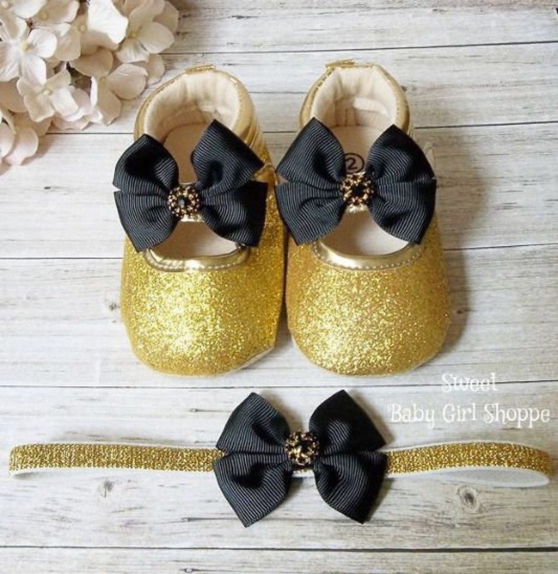 ff1cc55f96b84 Black and Gold Baby Shoes for a Black and Gold First Birthday