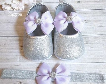 Purple First Birthday Outfit, Purple and Silver 1st Birthday Outfit, Purple Winter ONEderland, Silver Glitter Shoes, Princess Sofia Shoes
