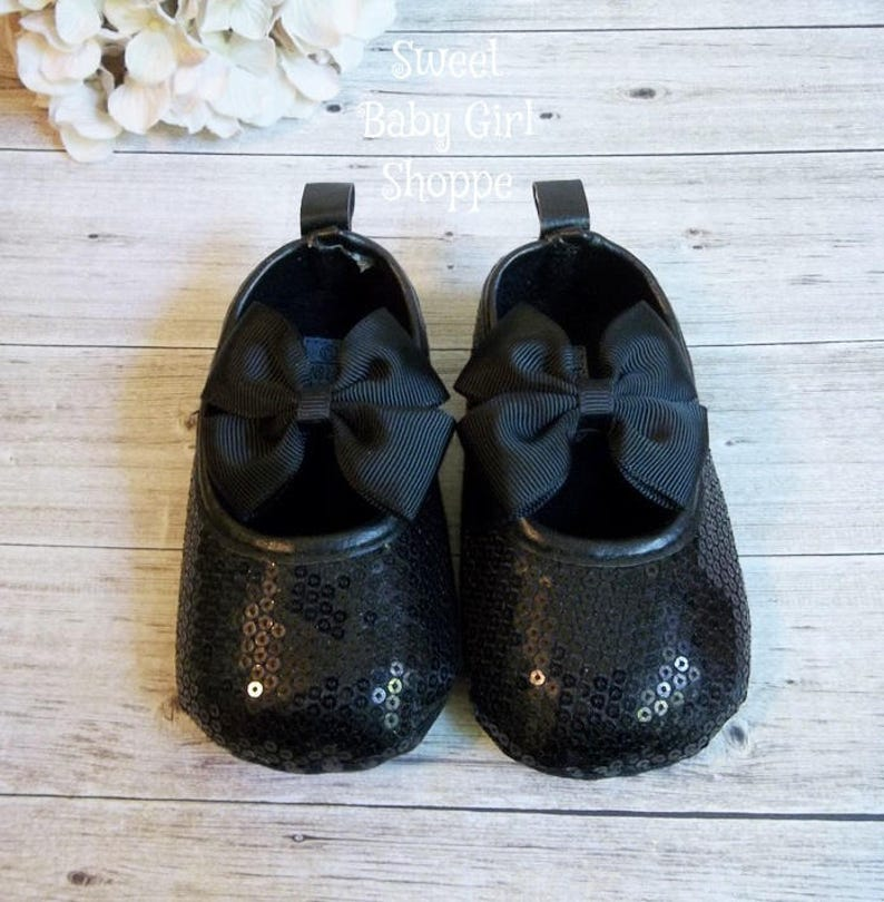 9d5b2c90e4a0 Black Sequin Crib Shoes Black Christmas Shoes Black
