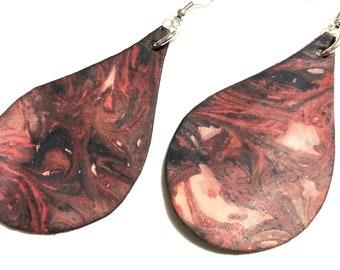Marbled Small Leather Teardrop Earrings Hand Dyed Tie Dye Dangle Jewelry