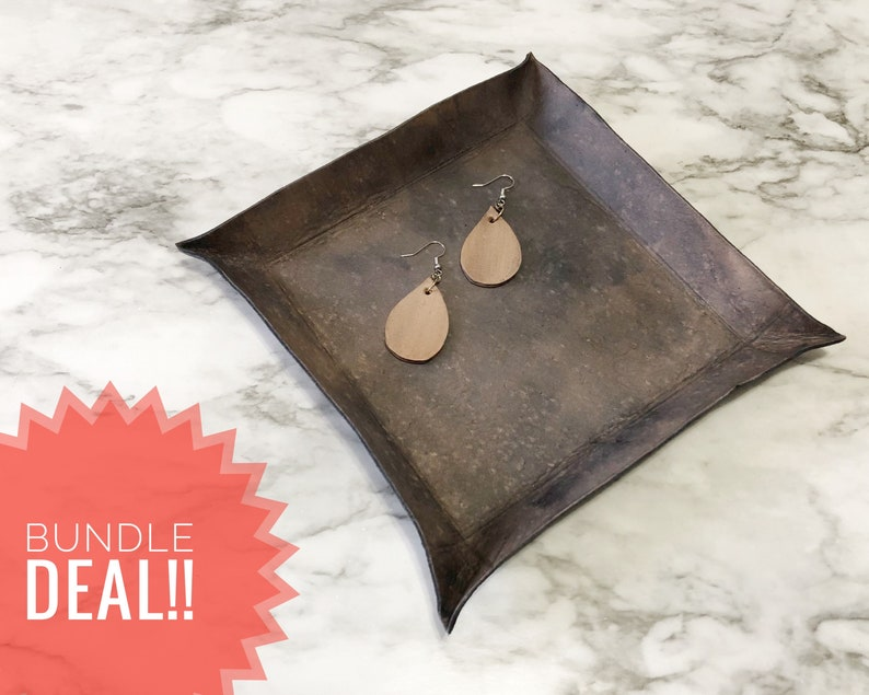 Custom Bundle Deal Of Square Catch All Dish /& Small Teardrop Leaf Earrings Premium Leather Jewelry And Tray Gift For Women Vanity Tray