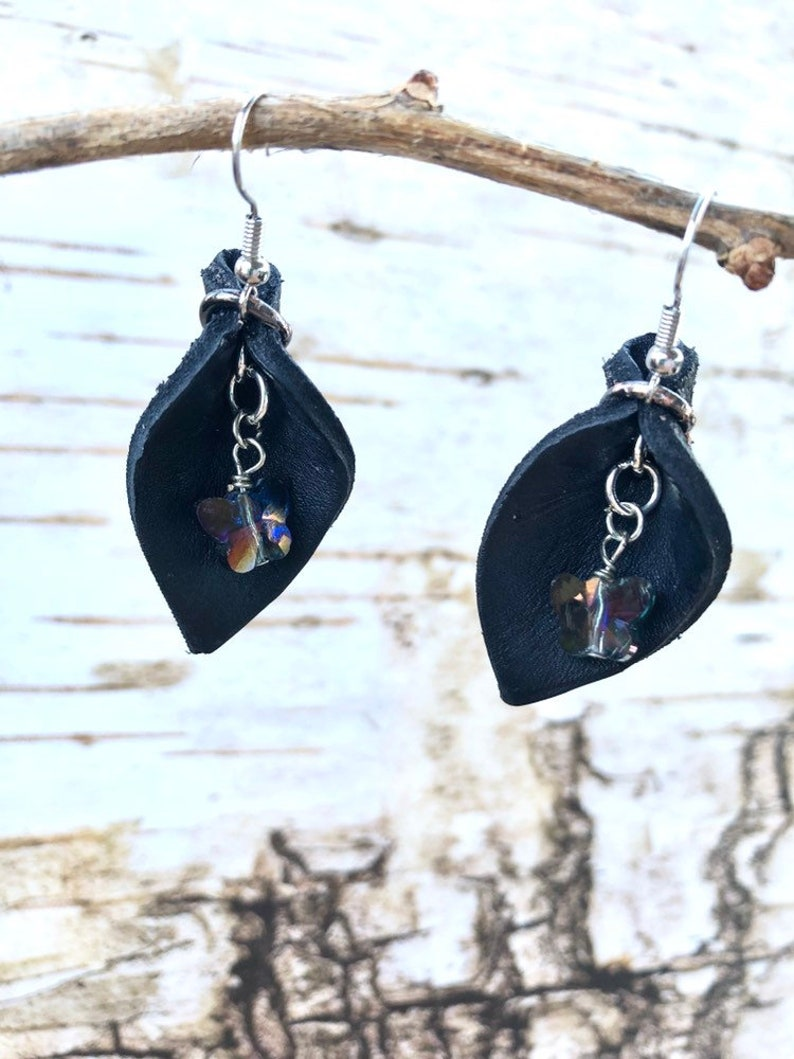 Oil Diffuser Jewelry Small Black Leather Teardrop Leaf With Purple Crystal Butterfly Dangle Petal Earrings Hippie Chic Birthday Mom Gift