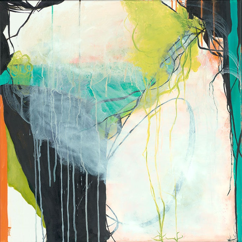 Pipevine  Square abstract expressionist painting Green Teal image 0