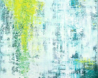 Flowing Green - Green/White Square Abstract Art