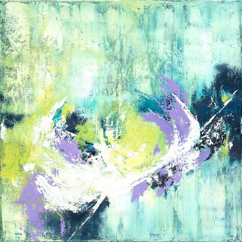 Collision  Abstract blue green and lavendar oil painting image 0
