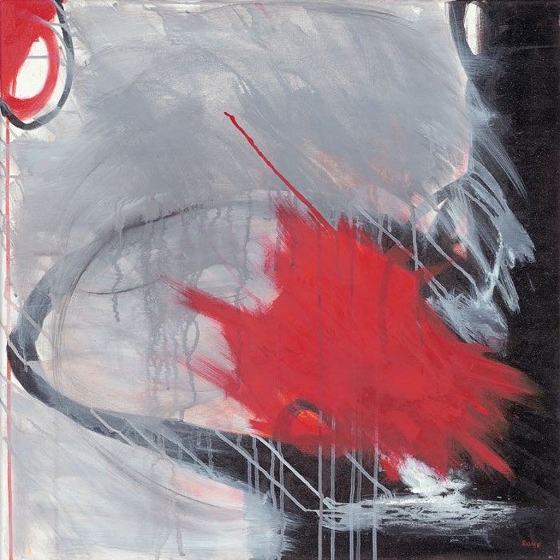 Festive  Red Gray and Black Abstract Oil Painting image 0