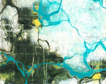 Reflections - square green and blue abstract expressionism oil painting