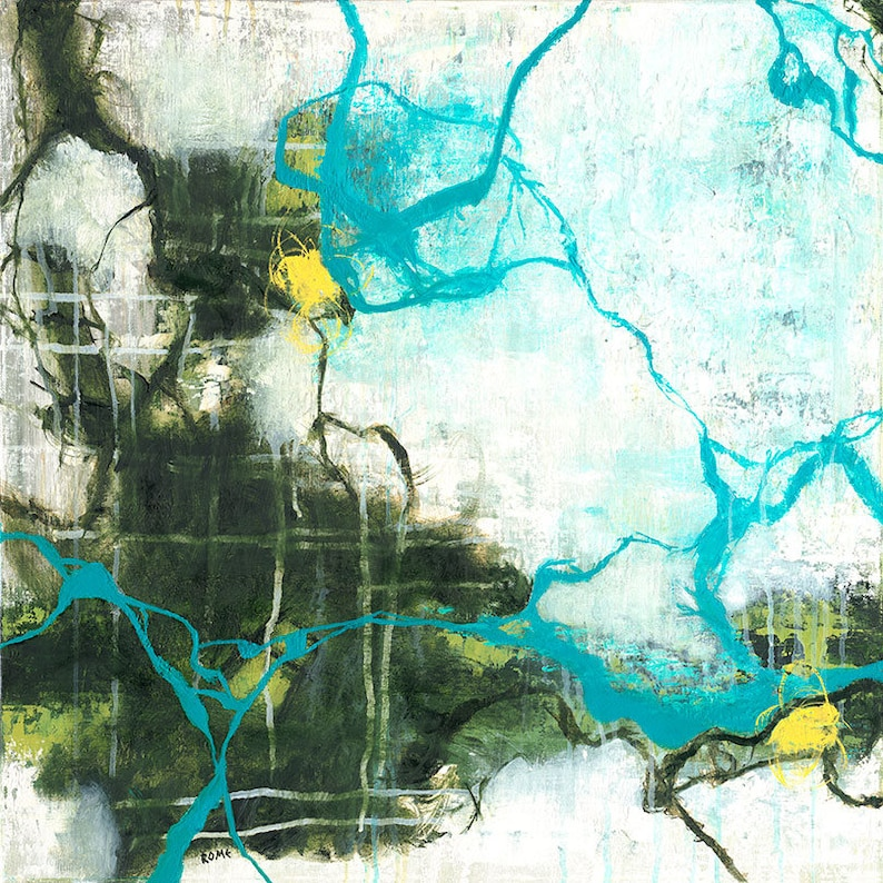 Reflections  square green and blue abstract expressionism oil image 0
