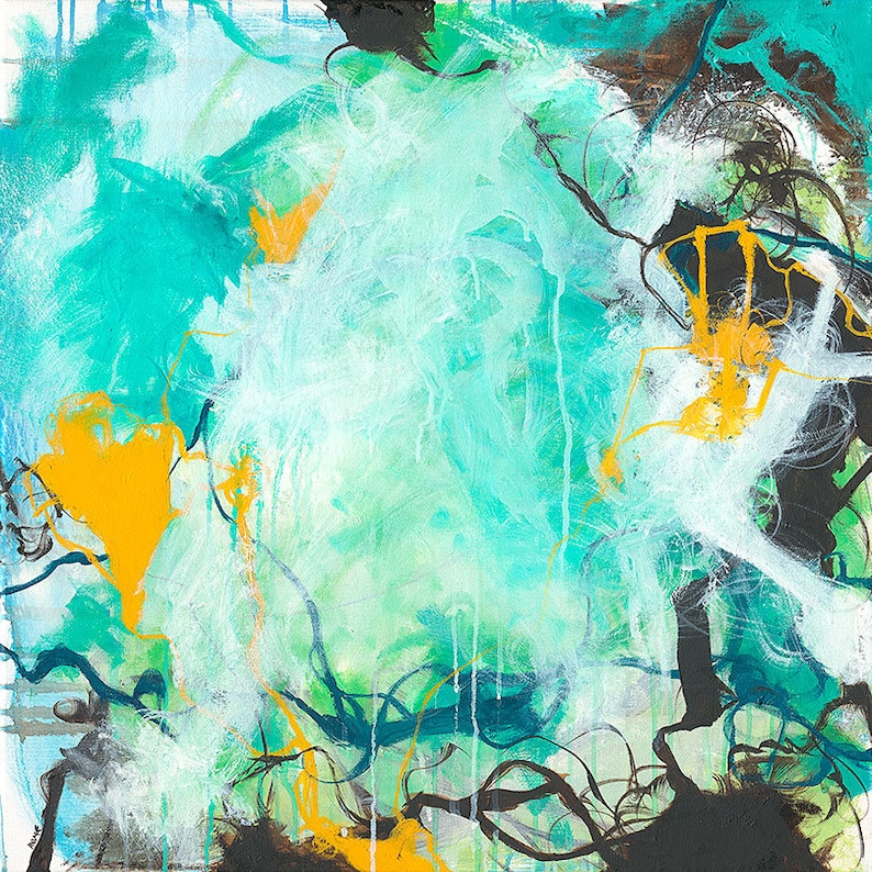 Beginnings  Square blue abstract expressionism painting image 0