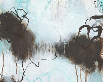 Into the Storm - Blue and brown abstract painting