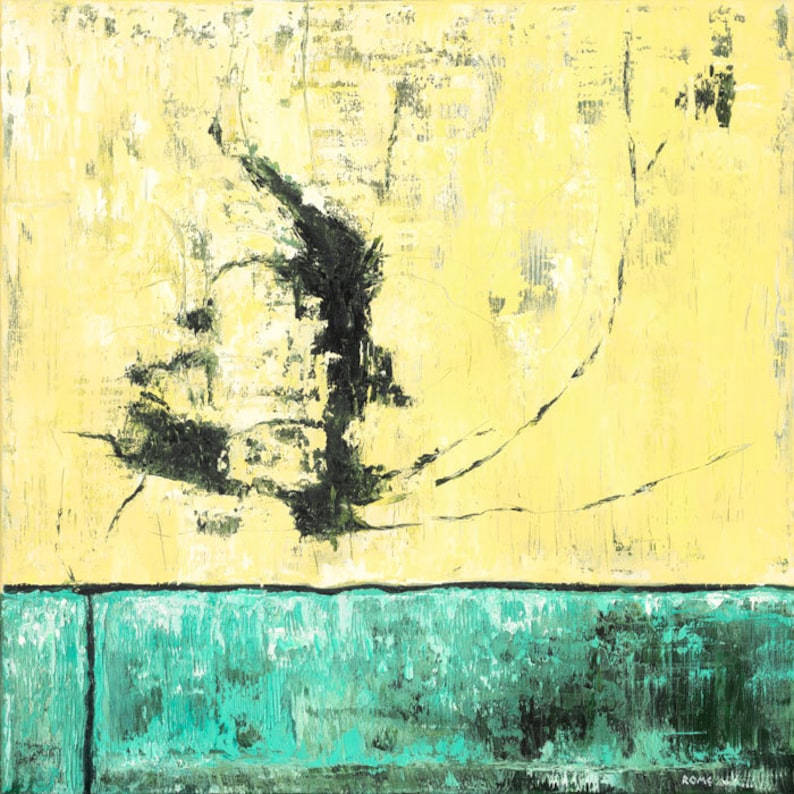 Impact  24x24 yellow/green abstract painting image 0