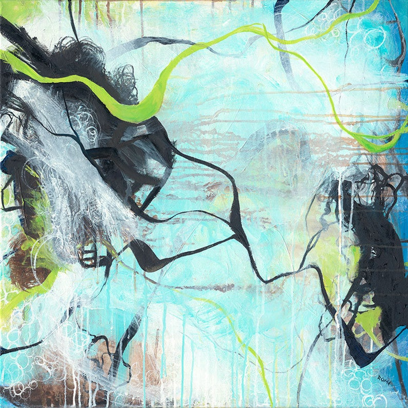 Tangled  square blue organic abstract expressionism painting image 0