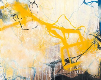 Storms - Yellow and Neutral abstract expressionism painting
