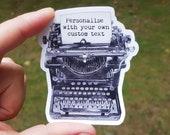 Personalised Typewriter sticker, editor sticker, cute vinyl sticker, writers laptop sticker, Authors sticker (30.00.02)